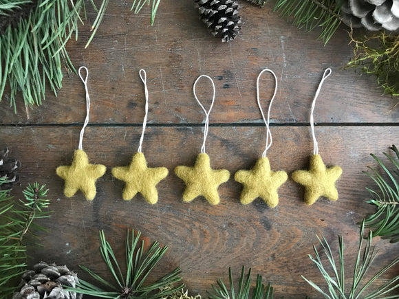 Wool star ornaments, set of 5, Harvest Gold