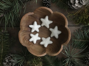 Felted wool stars, set of 5, Dusty White