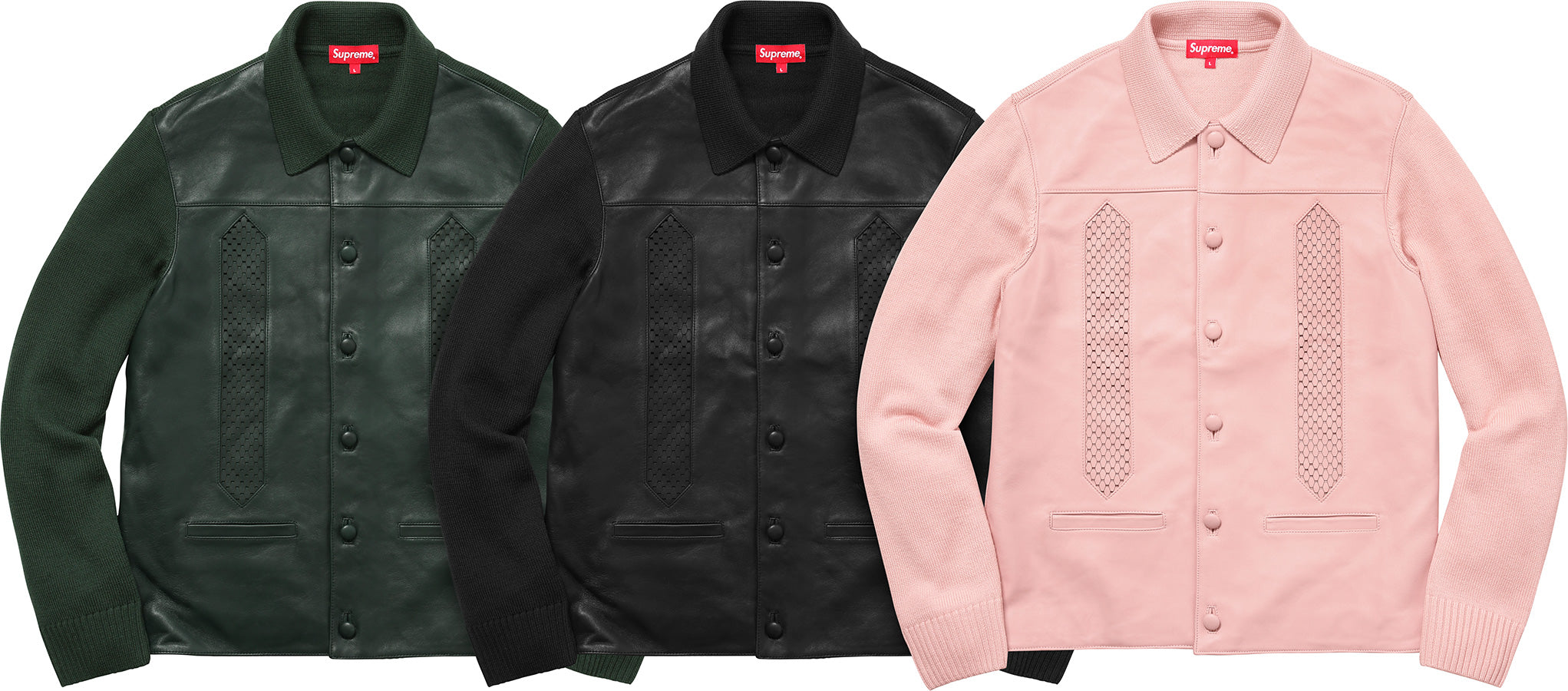 Supreme Leather Front Polo Sweater
