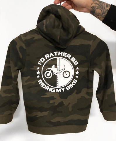 I'd rather be riding my bike - Camo hoodie