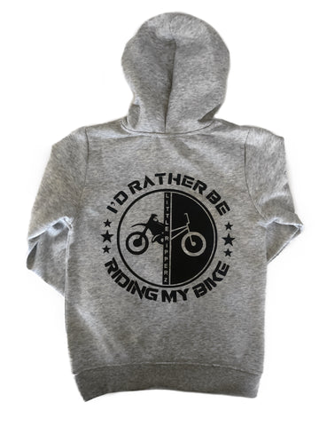 I'd rather be riding my bike - grey hoodie