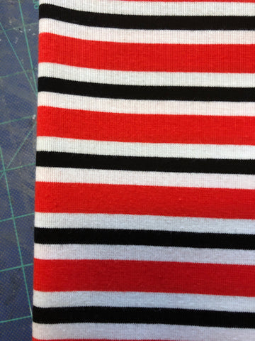 Red, Black and White Yarn Dyed Stripes
