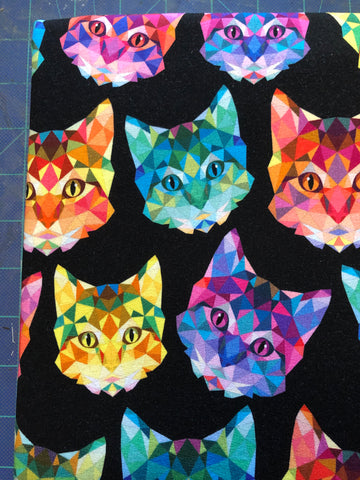 Rainbow Geo Cats French Terry