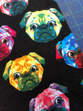 Rainbow Geo Pugs French Terry