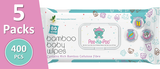 *5x Bamboo Wet Wipes With Honeysuckle Extract (80 Pieces)