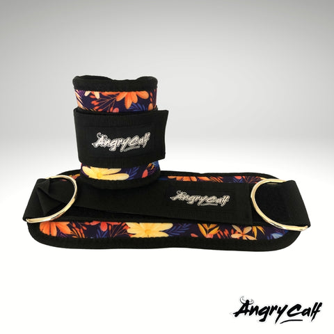 """Wild Flower"" - Angry Calf Ankle Straps for Cable Machine Workouts"