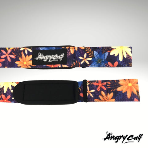 """Wild Flower"" - Angry Calf Barbell Lifting Straps"