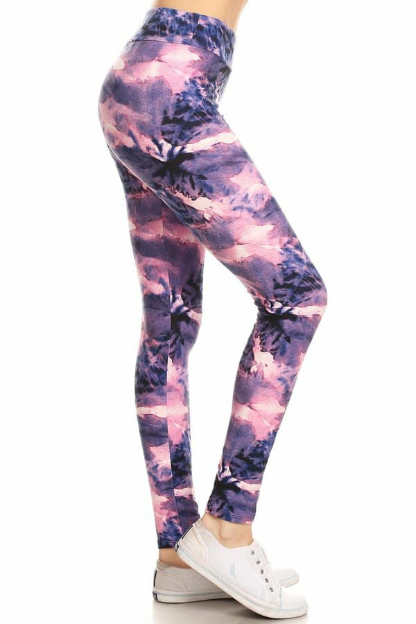 Summer Glow Purple, Pink & Navy Tie Dye Yoga Leggings in OS & PS