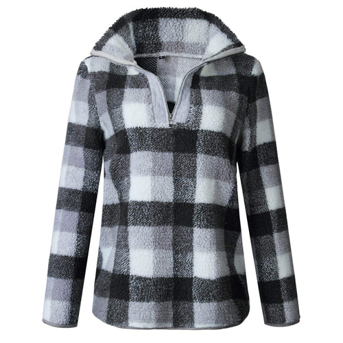 Gray Full Plaid Fleece Half Zip Sweater