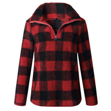 Red Full Plaid Half Zip Fleece Sweater