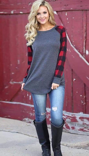 Red & Black Plaid Long sleeve Tee Shirt