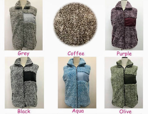 Cozy Full Zip Color-block Sherpa Vest