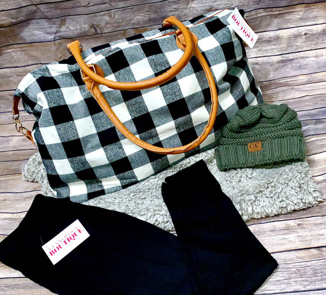 Black & White Plaid large tote bag