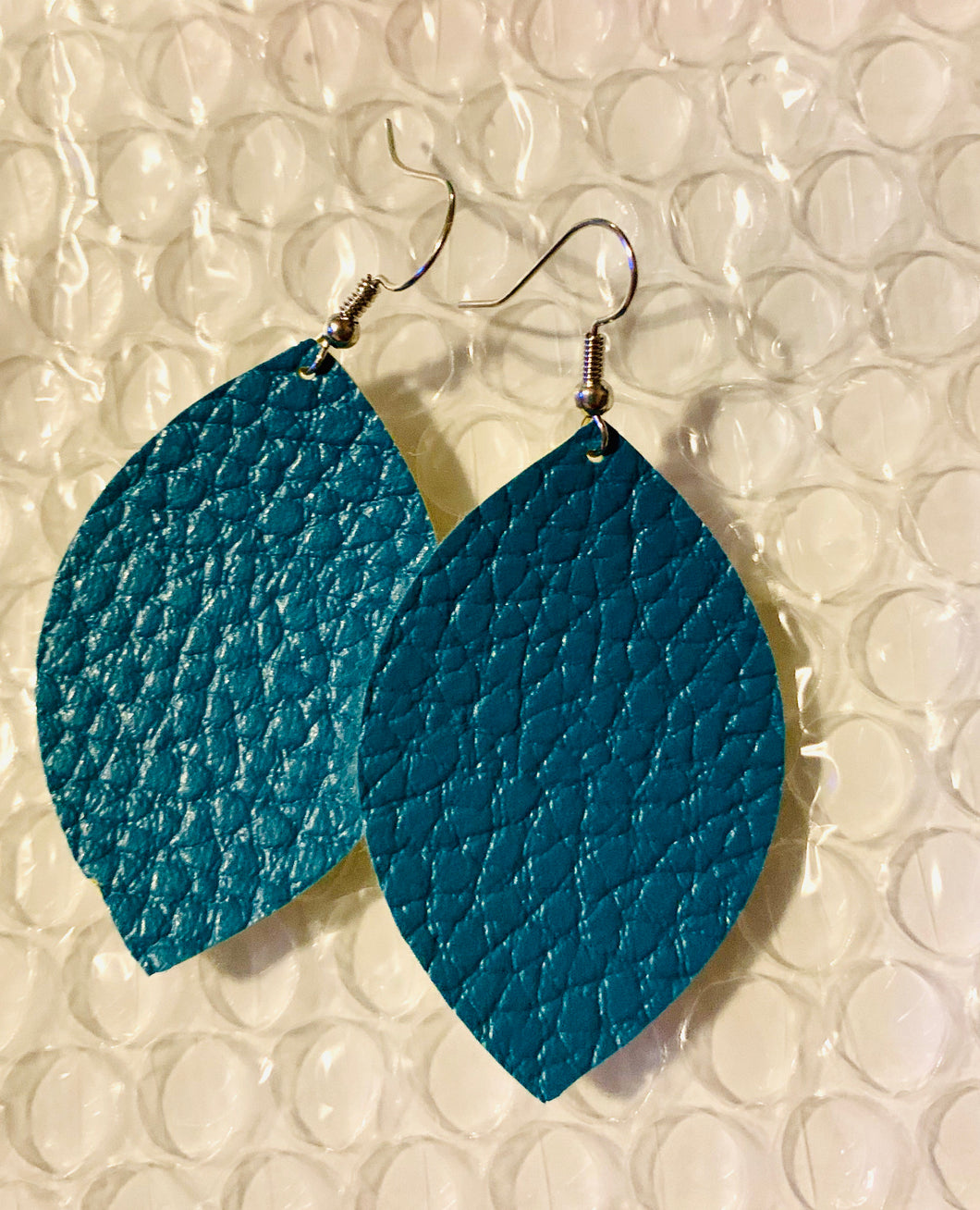 Aqua Faux Leather Earrings