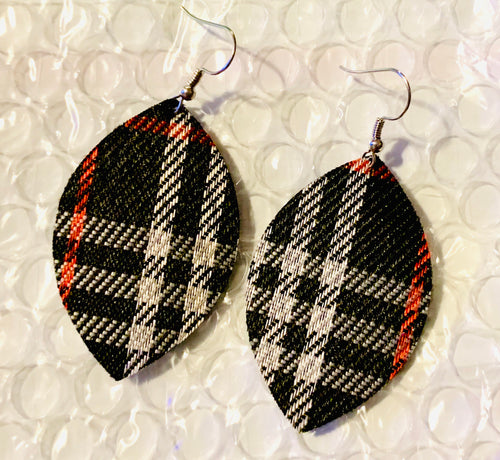Red black & white faux leather earrings