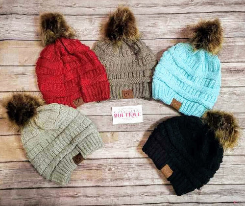 Adult C.C Beanies with Pom Pom