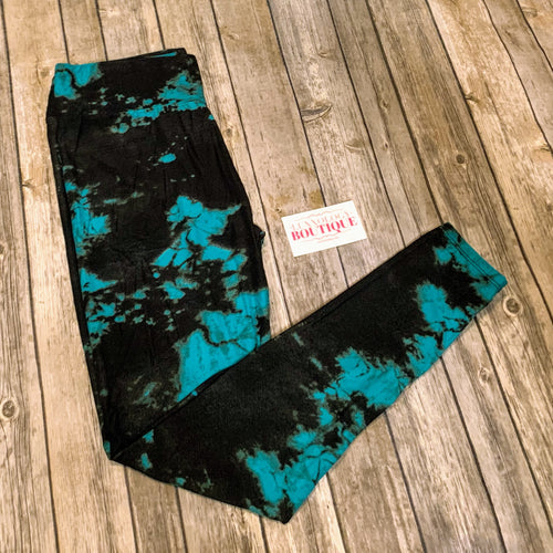 Trendster Aqua & Black Tie Dye Yoga Leggings in OS & PS!