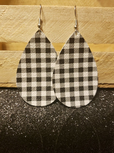 White & Black Plaid Faux Leather Earrings