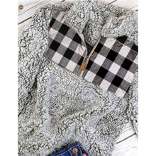 White, Black & Gray Plaid Sherpa Half-ZIP Sweater