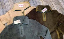 Gray/brown/Tan Sherpa half zip sweater with pockets