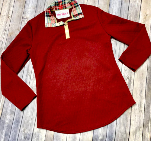 Quilted plaid button down sweaters