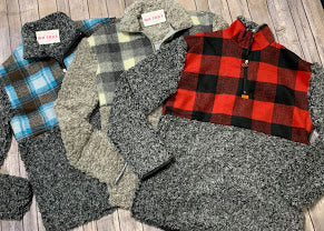 Flannel Plaid Sherpa Half Zip Sweaters