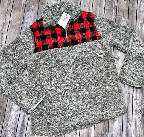 Red, Black & Gray Half-Zip Sherpa Sweater