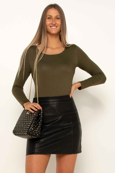 Khaki Betty Basic Stretch Top