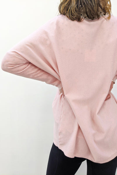 V Neck Super Soft Boxy Knit - Baby Pink