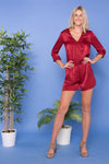 Raspberry Cross-Over Long Sleeve Playsuit