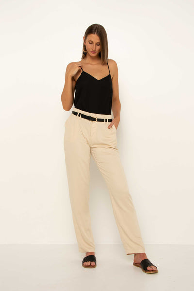tall-long-cream-tapered-pant-work-trousers-looking-down-evening-look-flattering