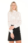 long-sleeve-lace-shirt-with-black-leather-skirt