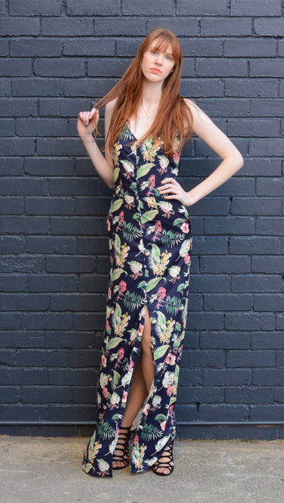 red-head-wearing-tall-floral-maxi-dress