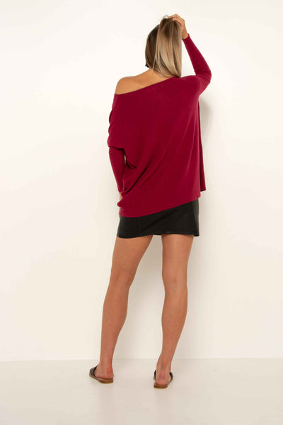 Super Soft Boxy Knit - Berry