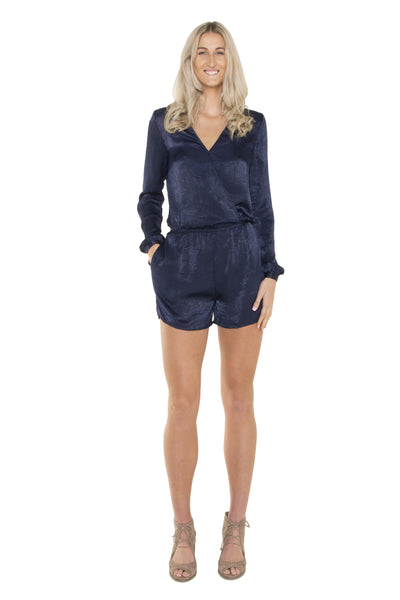 navy-cross-over-long-sleeve-playsuit-full-body-front-view-worn-by-tall-blonde
