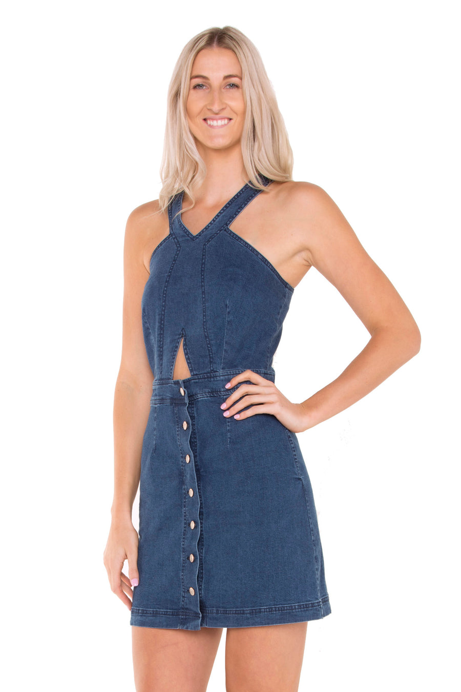 tall-denim-cut-out-dress-beach-waves