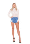 long-sleeve-lace-shirt-with-denim-short-long-legged-tall-woman
