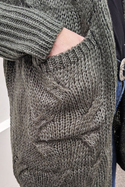 long-tall-lily-green-criss-cross-knit-pocket-cable-knit-soft-warm-outwear-day-wear-hand-made
