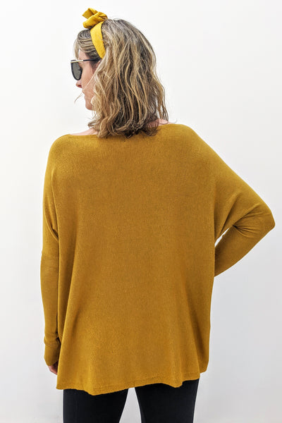 Super Soft Boxy Knit - Mustard