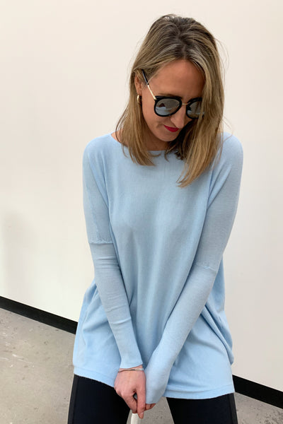 Super Soft Boxy Knit - Baby Blue