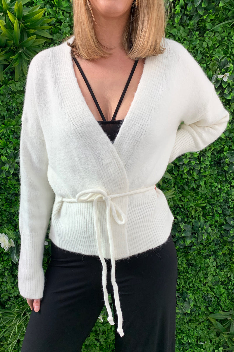 Relaxed Wrap Knit Cardigan - Cream