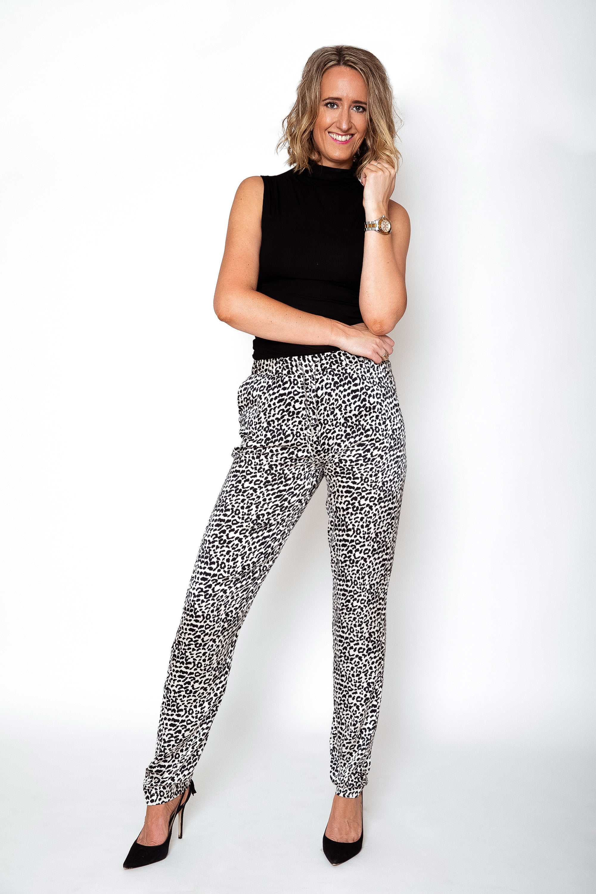 Black White Leopard Trousers Height Of Fashion