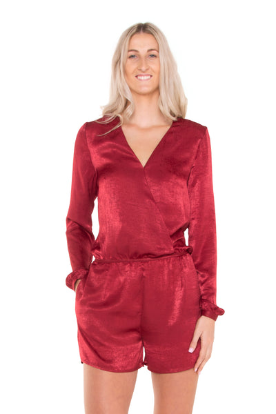 Raspberry-Cross-Over-Long-Sleeve-Playsuit-front-view