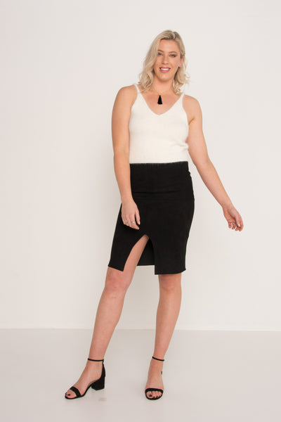 Suede Split Skirt