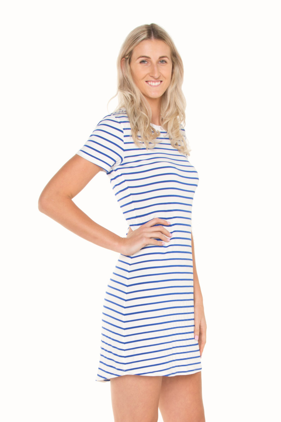 Tall-nautical-stripe-tshirt-dress-with-denim-jacket