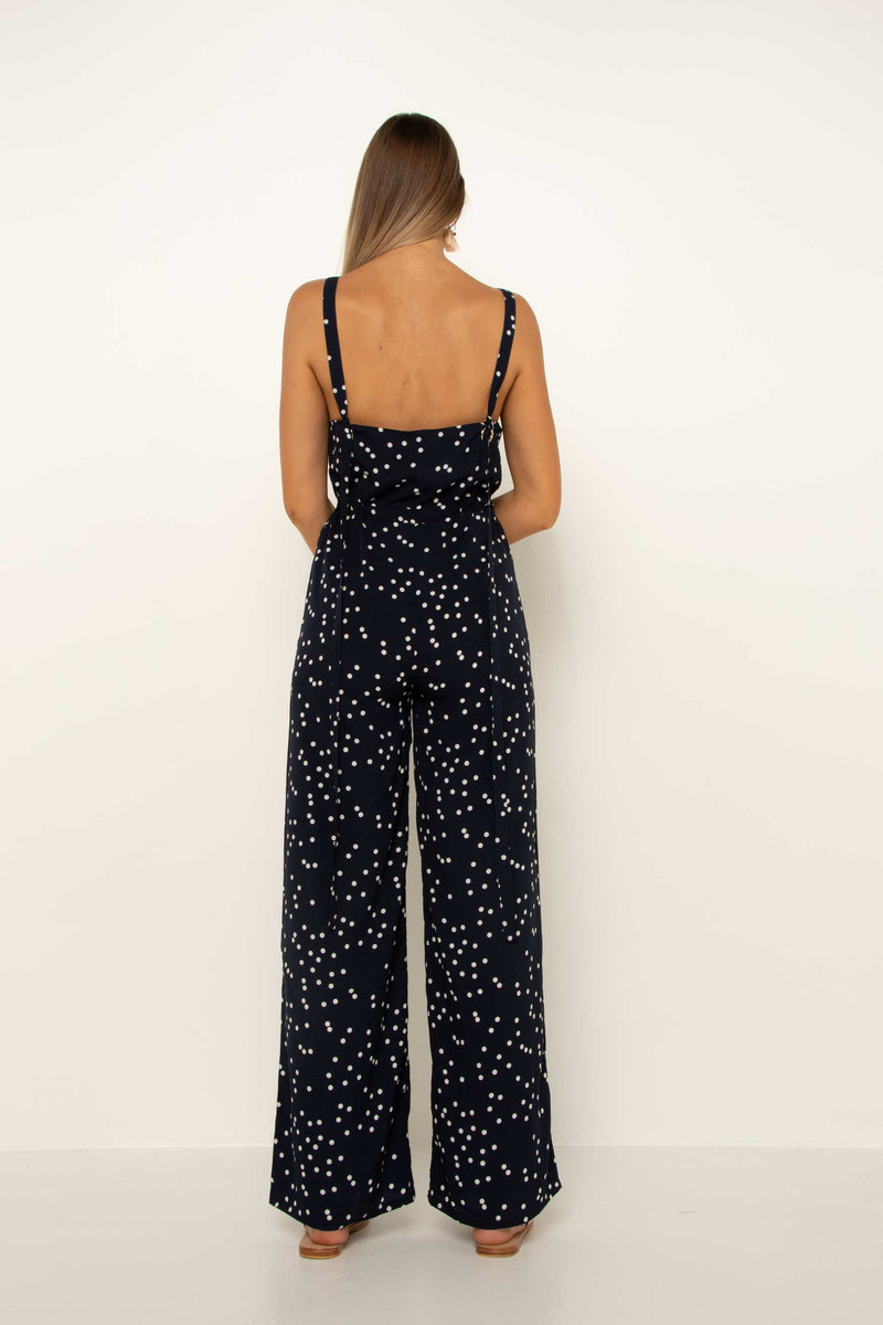 Polka Dot Tie Up Jumpsuit