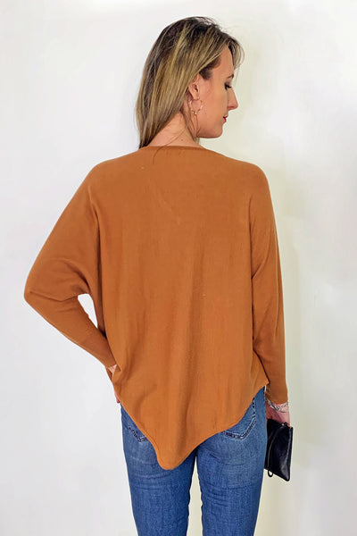 back-view-long-fine-ribbed-tan-knit-pointed-at-back