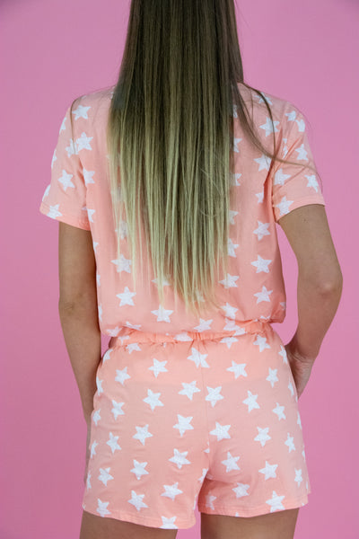 Pink Star PJ Set - T-shirt & Shorts