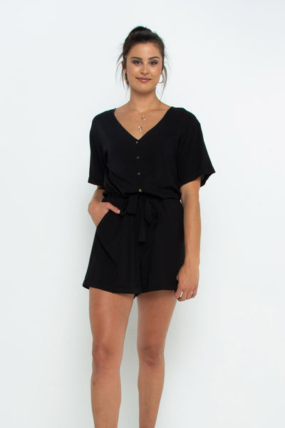 Gold Button Black Playsuit