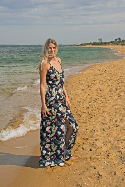 tall-button-front-plunge-floral-maxi-dress-beach-side-split